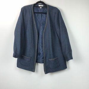 CJ Bank Navy Tweed Embellished Open Front Jacket